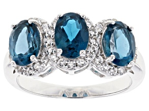 Pre-Owned London blue topaz sterling silver ring 2.80ctw