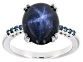 Pre-Owned Blue star sapphire rhodium over sterling silver ring 7.07ctw
