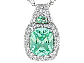 Pre-Owned Synthetic Green Spinel & White Cubic Zirconia Platineve ™ Center Design Pendant With Chain