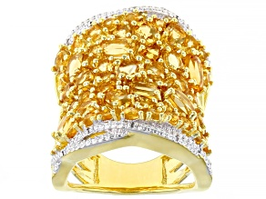 Pre-Owned Yellow citrine 18k yellow gold over silver ring 5.25ctw