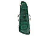 Pre-Owned Green malachite oxidized sterling silver ring