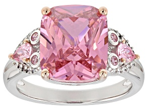 Pre-Owned Pink & White Cubic Zirconia Rhodium Over Sterling Silver Center Design Ring 10.52ctw