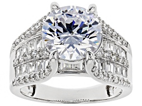 Pre-Owned White Cubic Zirconia Rhodium Over Sterling Silver Bridge Ring 8.98ctw