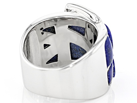 Pre-Owned Blue Lapis Lazuli Rhodium Over Sterling Silver Belt Band Ring .08ctw
