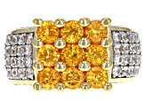Pre-Owned Orange spessartite garnet 18k yellow gold over silver ring