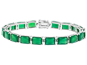 Pre-Owned Green onyx sterling silver bracelet