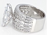 Pre-Owned White Cubic Zirconia Rhodium Over Sterling Silver Center Design Ring 11.36ctw