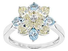 Pre-Owned White Fabulite Strontium Titanate, Glacier Topaz™ And White Zircon Silver Ring 2.77ctw