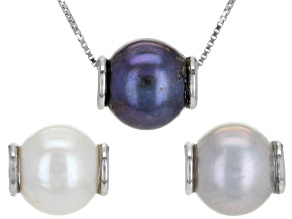 Pre-Owned 9.5-10mm Multi-Color Cultured Freshwater Pearl Rhodium Over Silver Interchangeable Pendant