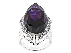 Pre-Owned Purple & White Cubic Zirconia Rhodium Over Sterling Silver Center Design Ring 38.00CTW