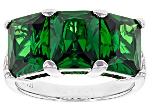 Pre-Owned Green & White Cubic Zirconia Rhodium Over Sterling Silver 3 Stone Ring 10.93ctw