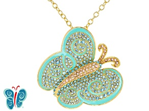 Pre-Owned Multicolor Crystal Gold Tone Butterfly Pin/Pendant