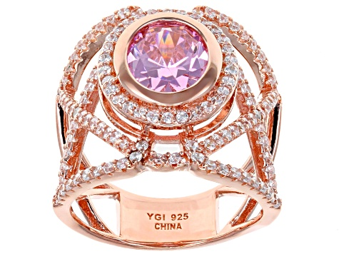 Pre-Owned Pink & White Cubic Zirconia 18K Rose Gold Over Sterling Silver Center Design Ring 5.85ctw