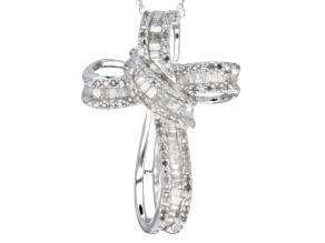 Pre-Owned Diamond Rhodium Over Sterling Silver Pendant, .75ctw