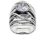 Pre-Owned White Cubic Zirconia Rhodium Over Sterling Silver Center Design Ring 6.58ctw