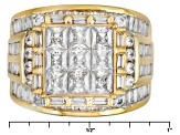 Pre-Owned Cubic Zirconia 18k Yellow Gold Over Silver Ring 6.47ctw (5.79ctw DEW)