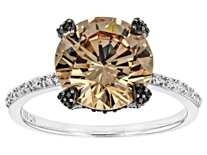 Pre-Owned White, Brown, And Mocha Cubic Zirconia Rhodium Over Sterling Silver Ring 7.72ctw