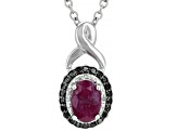Pre-Owned Red Burma Ruby Rhodium Over Sterling Silver Pendant With Chain .81ctw
