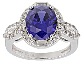Pre-Owned Blue & White Cubic Zirconia Rhodium Over Sterling Silver Center Design Ring 7.28ctw