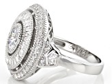 Pre-Owned White Cubic Zirconia Rhodium Over Sterling Silver Ring 2.20ctw