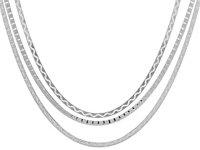 Pre-Owned Sterling Silver Herringbone Chain Necklace Set Of Three 24 inch