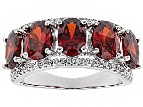 Pre-Owned Red and White Cubic Zirconia Rhodium Over Sterling Silver Ring 4.58ctw