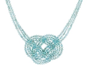 Pre-Owned Blue Aquamarine Rhodium Over Silver Celtic Knot Necklace 50.50ctw