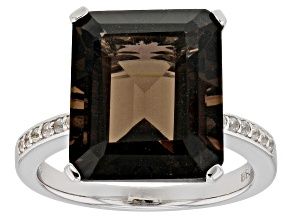 Pre-Owned Brown smoky quartz rhodium over silver ring 7.20ctw