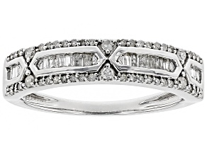 Pre-Owned White Diamond Rhodium over Sterling Silver Ring .28ctw