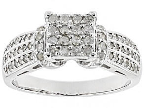 Pre-Owned White Diamond Rhodium over Sterling Silver Ring .50ctw
