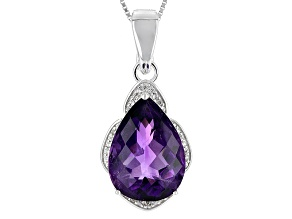 Pre-Owned Purple Amethyst Sterling Silver Enhancer With Chain 8.50ctw