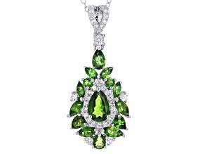 Pre-Owned Green Chrome Diopside Sterling Silver Pendant With Chain 3.03ctw
