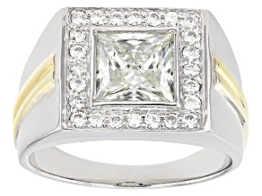 Pre-Owned Moissanite Fire® 3.58ctw DEW Platineve™ And 14k Yellow Gold Over Platineve Gents Ring