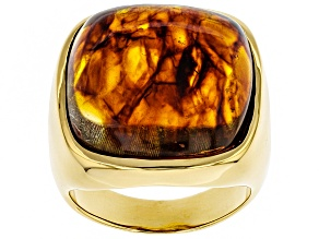 Pre-Owned Orange Amber 18k Gold Over Silver ring