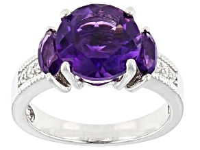 Pre-Owned Purple amethyst rhodium over silver ring 3.40ctw