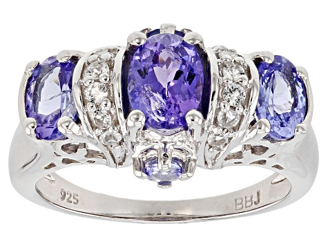 Pre-Owned Blue tanzanite rhodium over sterling silver ring 1.74ctw