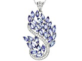 Pre-Owned Blue Tanzanite Silver Pendant With Adjustable Chain 6.17ctw