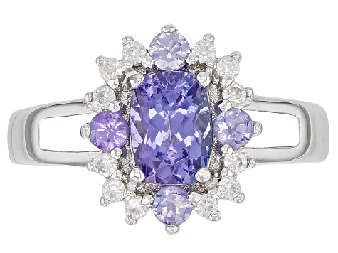 Pre-Owned Blue tanzanite rhodium over silver ring 1.12ctw