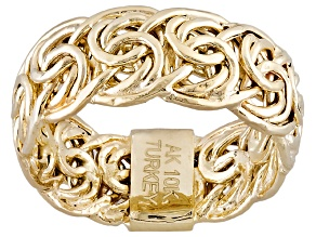 Pre-Owned 10k Yellow Gold Hollow Byzantine Link Band Ring