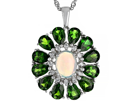 Pre-Owned Multicolor Ethiopian Opal Rhodium Over Silver Pendant With Chain 5.81ctw