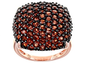 Pre-Owned Red Garnet 14K Rose Gold Over Sterling Silver Dome Ring 5.25ctw