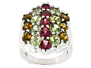 Pre-Owned Pink Multi Tourmaline Sterling Silver Ring 5.70ctw
