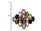 Pre-Owned Multi Tourmaline Sterling Silver Ring 3.00ctw