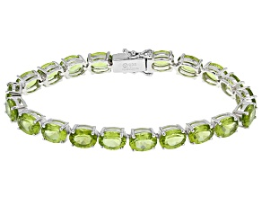 Pre-Owned Green Peridot Sterling Silver Bracelet 24.50ctw