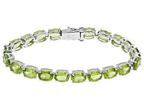 Pre-Owned Green Peridot Sterling Silver Bracelet 24.50ctw