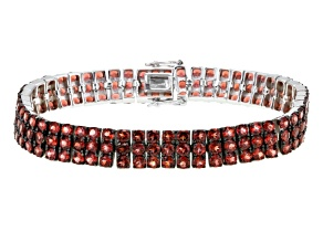 Pre-Owned Red Garnet Sterling Silver Bracelet 21.00ctw