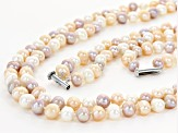 Pre-Owned 7-8mm Multi-Color Cultured Freshwater Pearl Rhodium Over Silver Necklace & Bracelet Set