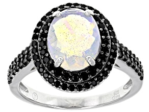 Pre-Owned Multi Color Ethiopian Opal Rhodium Over Sterling Silver Ring 2.28ctw