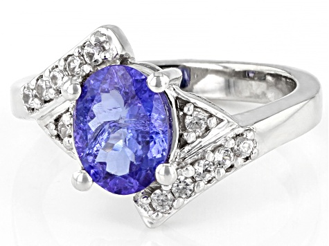 Pre-Owned Blue Tanzanite Rhodium Over Sterling Silver Bypass Ring 2.20ctw