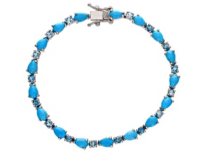 Pre-Owned Blue turquoise rhodium over silver bracelet 2.43ctw